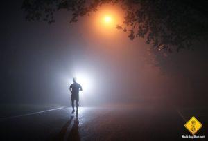 man running at night
